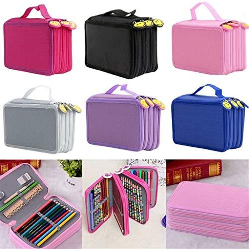72 Holes Nylon School Pencil Case Pen Pouch Brush Holder Bag Set Design for 72 PCS Colored Pencils Art Supplies Pink 52 Holes