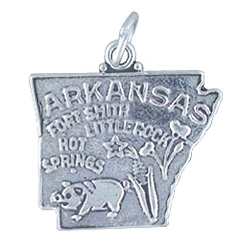 (Sterling Silver ARKANSAS State Map Outline Word Charm)