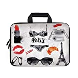 Paris City Decor Laptop Carrying Bag Sleeve,Neoprene Sleeve Case/Various Symbols of Eiffel Tower Glasses Grubnoy Lipstick Shoes Lingerie Accessories/for Apple Macbook Air Samsung Google Acer HP DELL L