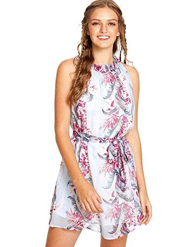 Floerns Women's Summer Chiffon Sleeveless Party Dress Multi-1 M (Dress Multi Chiffon)