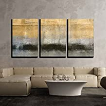 "wall26 - 3 Piece Canvas Wall Art - Abstract Landscape with Golden Black and Grey Color - Modern Home Decor Stretched and Framed Ready to Hang - 24""x36""x3 Panels"