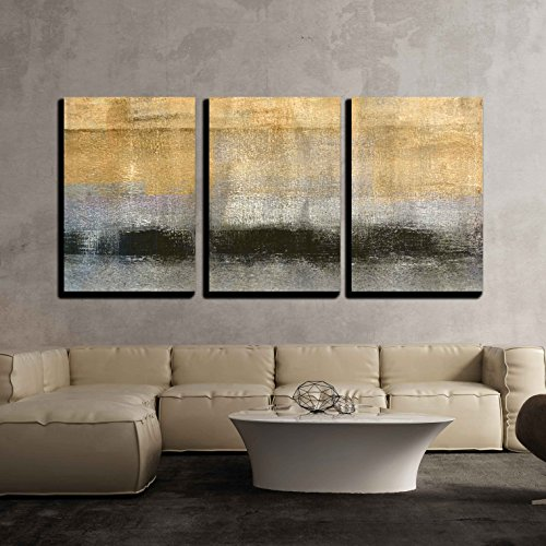 wall26 3 Piece Canvas Wall Art - Abstract Landscape with Golden Black and Grey Color - Modern Home Decor Stretched and Framed Ready to Hang - 24