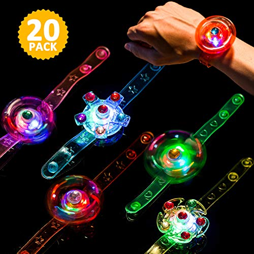 Light Up Bracelet Fidget Toys 20 Pack LED Party Favors for Kids Girls / Boys Prizes Glow In The Dark Hand Spin Stress Relief Anxiety Toy for Classroom Christmas Birthday Celebration New Year Eve Party]()