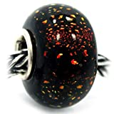 ".925 Sterling Silver Glass ""Deep Gloss Black w/ Dichroic Brown/Red/Orange Rainbow Colors"" Charm Bead for Snake Chain Charm Bracelets"