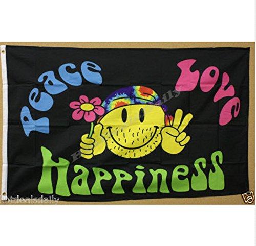 AES USA Premium Store Peace Love Happiness 3'X5' Banner Flag Hippie Smiley FACE Tye DYE Headband NIP