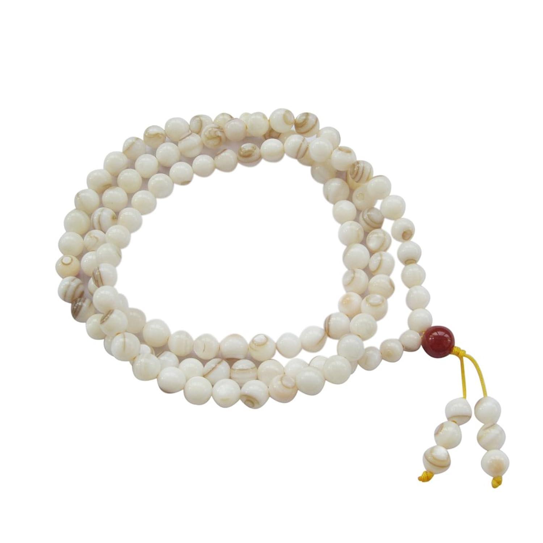 108 Shell Beads Tibetan Buddhist Prayer Rosary Mala for Meditation