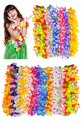 Hawaiian Leis Bulk Luau Moana Party Supplies Favors - 30pcs Hawaii Flowers Lei Necklace for Summer - Tropical Beach Summer Aloha Birthday Pool Party Decorations - Hawaiin Flower Décor for Adults Kids ()