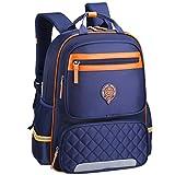 Uniuooi Primary School Backpack Book Bag for Boys Girls 8-12 Years Old Waterproof Nylon Schoolbag Travel Rucksack (Large, Navy)