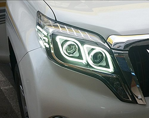 GOWE Car Styling Head Lamp for Toyota Prado 2015 Headlight LED Headlight ANGEL EYE LOW BEAM DRL Bi-Xenon Lens HID Whole set Color Temperature:4300k;Wattage:35w 4