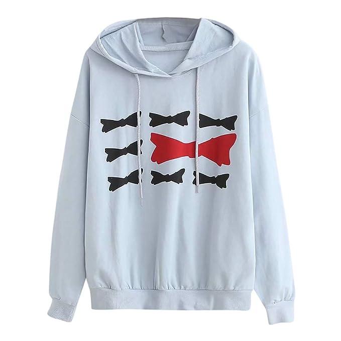 ☺Sweatshirts Hoodies Damen Oberteil Hemd Pullover Locker Sport Freizeit  Premium Bogen Drucken Kleidung mit Kapuzen Kapuzenpullover Blumenmuster ... d4b0d0cd94
