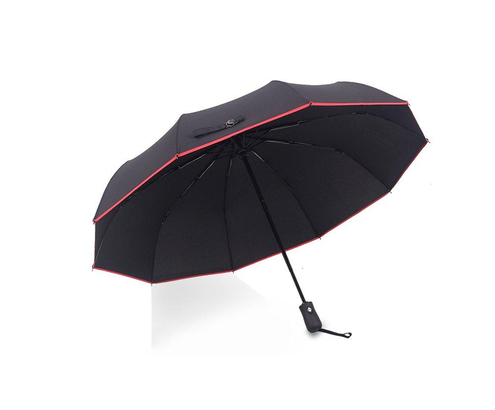 LYYUMBRELLAS ZHDC® Ombrello Completamente Automatico, Fold Commerce Uomo Donna Commercio OverDimensione Three Fold Ombrello Rinforzo Antivento Ombrellone Parasole (colore   nero-2)