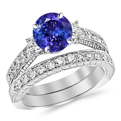 14K White Gold Three Stone Vintage With Milgrain & Filigree Bridal Set with Wedding Band & Diamond Engagement Ring with a 3 Carat Tanzanite AAA Heirloom Center Stone - Tanzanite White Gold Band