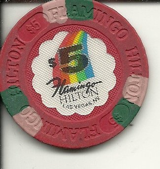 $5 flamingo hilton las vegas casino chip rainbow vintage