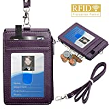Badge Holder with Zipper, ELV PU Leather ID Badge Card Holder Wallet with 5 Card Slots, 1 Side RFID Blocking Pocket and 20' Neck Lanyard/Strap for Offices ID, School ID, Driver Licence (Purple)