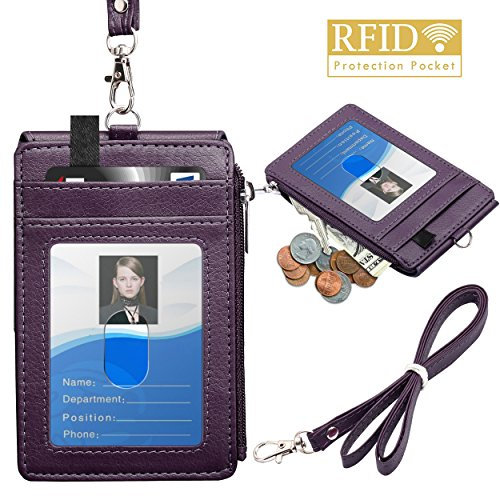 """Badge Holder with Zipper, ELV PU Leather ID Badge Card Holder Wallet with 5 Card Slots, 1 Side RFID Blocking Pocket and 20"""" Neck Lanyard/Strap for Offices ID, School ID, Driver Licence (Purple)"""