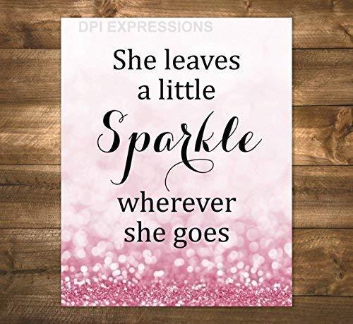 She Leaves A Little Sparkle Wherever She Goes, Girls Art Print, Typography Art Print, Pink Sparkly Bokeh Art Print, Unframed Print, 8