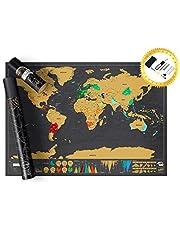 Mapa Mundi Raspadinha DELUXE | Pôster Mapa Mundi de Raspar Completo com Bandeiras e Assessórios | 82,5 x 59,3 cm | Presente perfeito para Viajantes, Decoração e Presente para Intercâmbio …