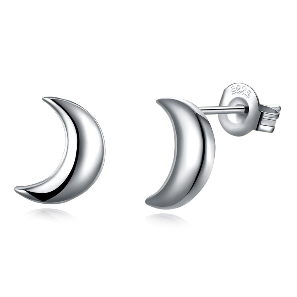 "Valentines Gift Simple Moon Stud Earrings ""Love You"" 925 Sterling Silver For Women Mother Friend"