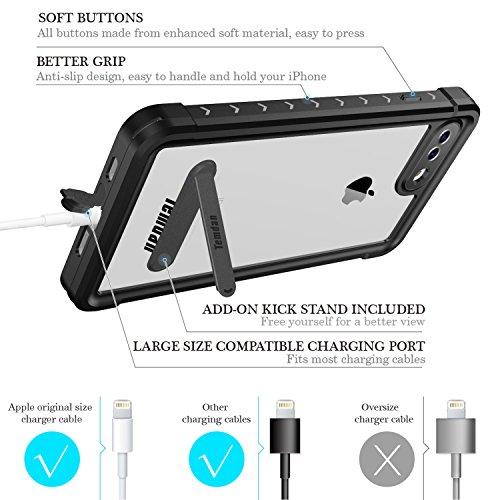 iPhone 7 plus/8 plus Waterproof Case, Temdan SUPREME Series Waterproof Case with Carabiner Built in Screen Protector Outdoor Rugged Shockproof Case for iPhone 7 plus and iPhone 8 plus(5.5 inch) by Temdan (Image #5)