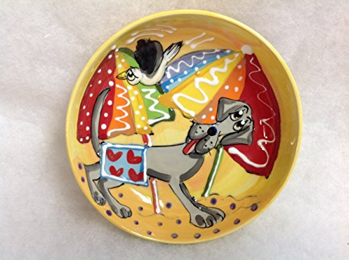 Great Dane 10'' Ceramic Dog Bowl for Food or Water. Personalized at no Charge. Signed by Artist, Debby Carman. by Faux Paw Productions, Inc., Laguna Beach, CA