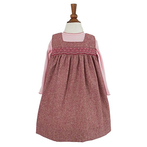 Tweed Bubble (Baby Girls Hand Smocked 2 Piece Holiday Jumper Dress - Red Tweed w/Pink Pullover, 18M)