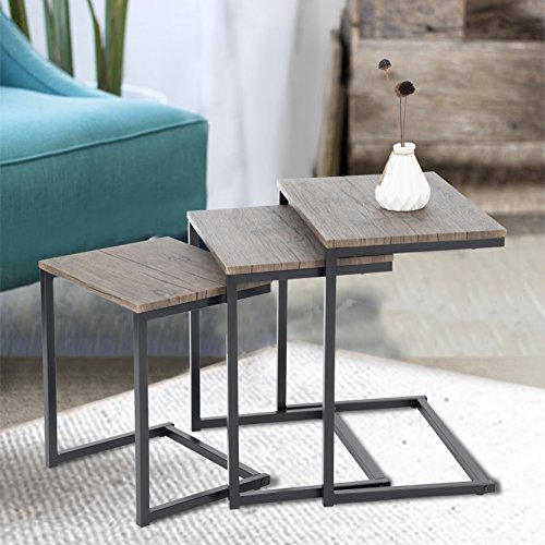 Set of 3 Dark Brown with Black Metal Frame Nesting Side End Table