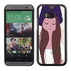 """For HTC One ( M8 ) Case , Retrato de la muchacha Ojos cerrados Sombrero Arte Dibujo"""" - Diseño Patrón Teléfono Caso Cubierta Case Bumper Duro Protección Case Cover Funda"""