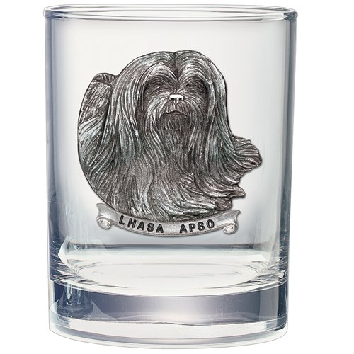 2pc, Pewter Lhasa Apso Double Old Fashioned Glass ()