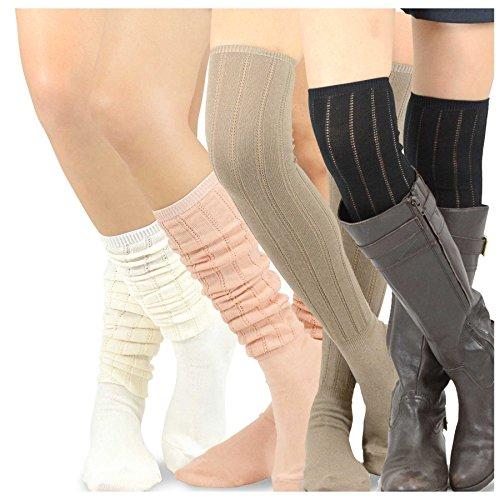 Teehee Womens Fashion Cotton Over The Knee Socks - 4 Pairs Pack (Pointelle Rib)