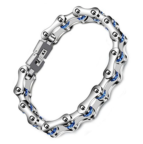 PAMTIER Men's and Women's Stainless Steel Blue Locomotive Bracelet Domineering Diamond Chain 8.6 Inches