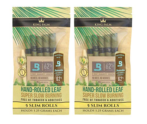 (Organic Pre Rolls, Tobacco & Chemical Free, Super Slow Burning, 100% Real Palm Leaf, Just Fill It (10 Slims))