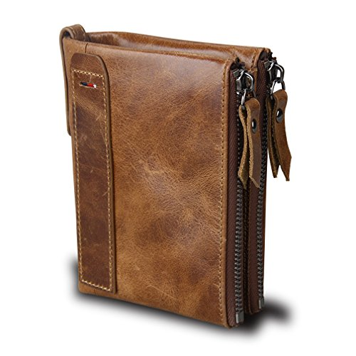 Small Vintage Crazy Horse Leather RFID Blocking Wallet Short Purse Bifold with Double Zipper Pockets for Men ()