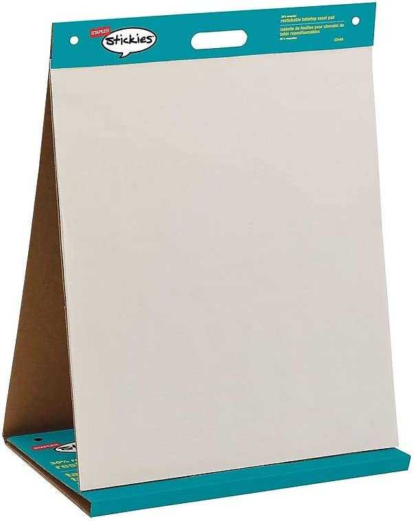 Staples 958102 Stickies Tabletop Easel Pad 20 X 23 White 20 Sheets//Pad 23448