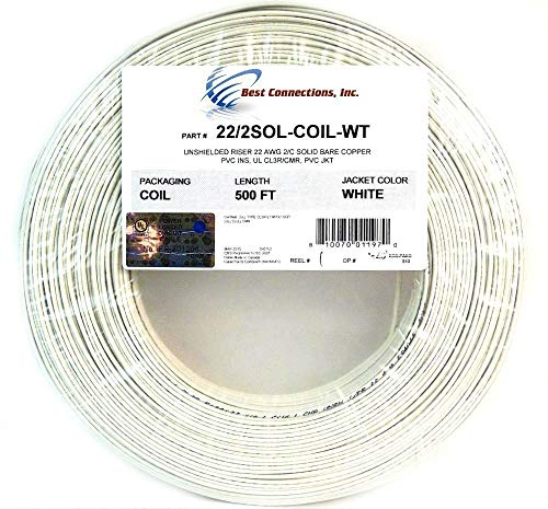 Alarm Wire 22 Gauge 1000' Copper Security Cable White UL Listed (2 500' Rolls)