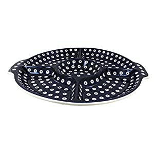 Blue Rose Polish Pottery Dots Chip & Dip Plate
