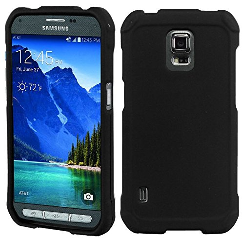 save off aa304 a33b1 Galaxy S5 Active Case, Black Rubberized Hard Shell Cover for Samsung  SM-G870A