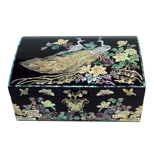Mother of Pearl Inlay Black Wooden Peacock Flower Design Jewelry Case Holder Trinket Keepsake Treasure Gift Box Pirate Chest -