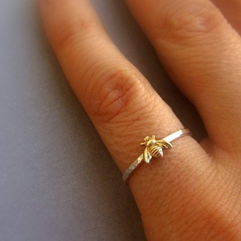 CanVivi Boho Jewelry Bee Ring Simple Ring Fashion Bee Jewellery for Women and Girls,6