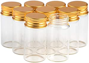 25ml Empty Seal Jars Glass Bottle with Aluminium Gold or Silver Color Screw Cap Sealed Liquid Food Gift Container 12units (12, 25ML-Gold-Cap)