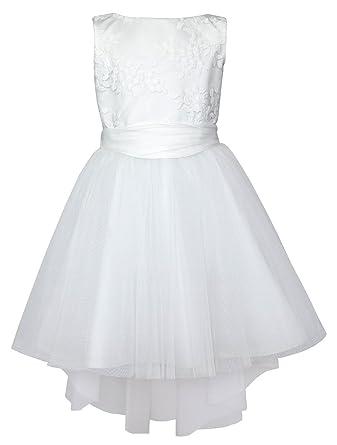 da2cf0e0511 EU Ware EU Ware SLY Mädchen Kleid Festlich Hochzeit Kommunion Blumenmädchen  Einschulung Spitze Party Tüll Weiß Kleider  Amazon.de  Bekleidung
