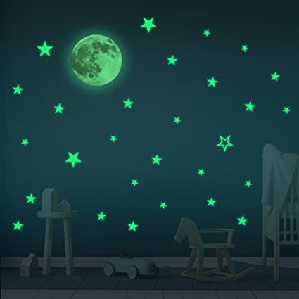 Glow In The Dark Room Decor.Glow In The Dark Stars Moon Wall Stickers Baby Room