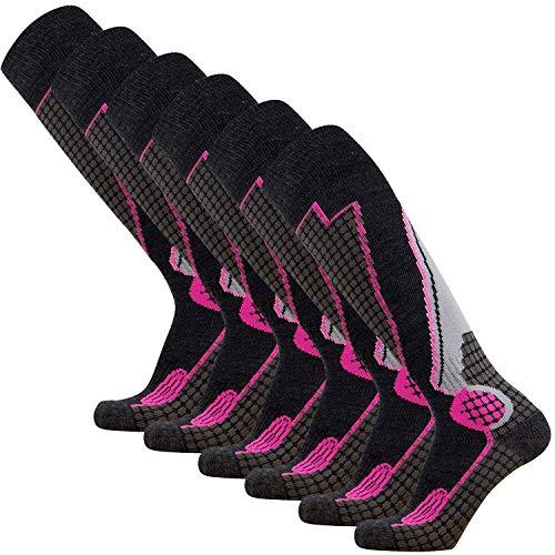 Pure Athlete High Performance Wool Ski Socks – Outdoor Wool Skiing Socks, Snowboard Socks (Black/Grey/Neon Pink - 6 Pack, Medium)