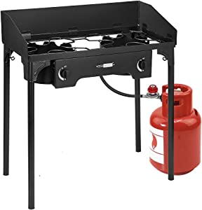 VIVOHOME Double Burner Stove, Heavy Duty Outdoor Dual Propane with Windscreen and Detachable Legs Stand for Camping Cookout