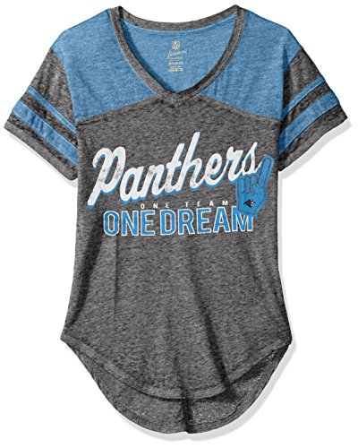 NFL by Outerstuff NFL Junior Girls Vintage Short Sleeve Football Tee, Carolina Panthers, Black, M(7-9) -