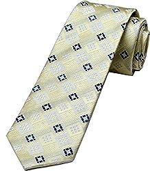Zarrano Skinny Tie 100% Silk Woven Cream/Charcoal Geometric Tie