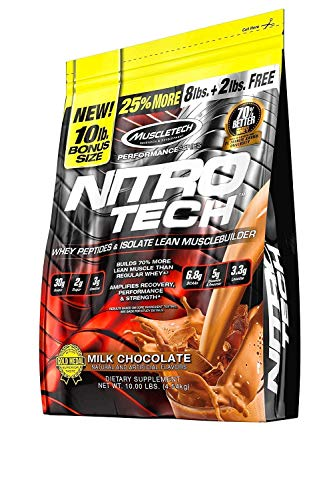 MuscleTech NitroTech Protein Powder Plus Muscle Builder, 100 Whey Protein with Whey Isolate, Milk Chocolate, 103 Servings 10lbs