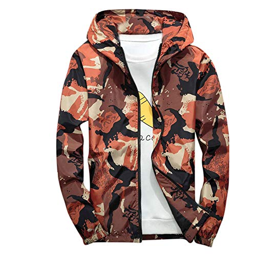 Sunhusing Mens Casual Camouflage Print Pocket Hooded Soft Shell Jacket Outdoor Waterproof Windproof Coat