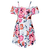 Girls Skater Dress Kids Floral Print Summer Party Off Shoulder Dresses New Age 7 8 9 10 11 12 13 Years