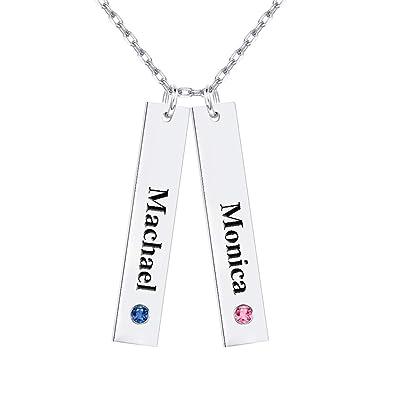 Amazon.com: Collar de barra personalizada con piedra de ...