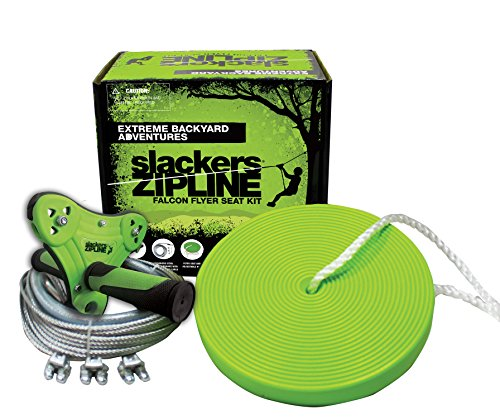 Lowest Price! Slackers Falcon Flyer Zipline Kit Backyard, Green, 40'